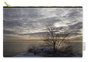 Early Morning Tree Silhouette On Silver Sky Carry-all Pouch