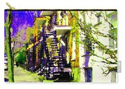 Early Spring Stroll City Streets With Spiral Staircases Art Of Montreal Street Scenes Carole Spandau Carry-all Pouch