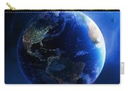 Earth And Galaxy With City Lights Carry-all Pouch