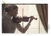 Edwardian Woman Playing Violin At The Window Carry-all Pouch