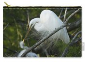 Louisiana Egret With Babies In Swamp Carry-all Pouch
