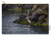 Egret On The Rocks Carry-all Pouch