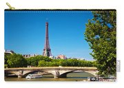 Eiffel Tower And Bridge On Seine River In Paris France Carry-all Pouch