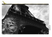 Eiffel Tower In Black And White. Ominous Sky Overhead Carry-all Pouch