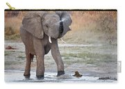 Elephant Calf Spraying Water Carry-all Pouch