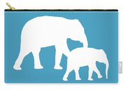 Elephants In White And Turquoise Carry-all Pouch