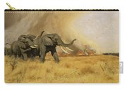 Elephants Moving Before A Fire Carry-all Pouch