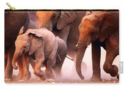 Elephants Stampede Carry-all Pouch by Johan Swanepoel