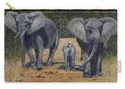 Elephants With Calf Carry-all Pouch