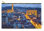Elevated Night View Of Central Florence Carry-all Pouch