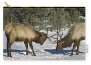 Elk  Bulls Fighting In Yellowstone Carry-all Pouch