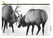 Elk Fighting Black And White Carry-all Pouch