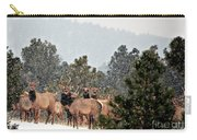 Elk In The Snowing Open Carry-all Pouch