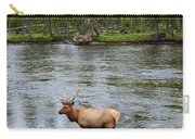 Elk Stag In The Madison River Of Yellowstone National Park Carry-all Pouch