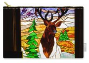 Elk Stained Glass Window Carry-all Pouch by Robert Bales