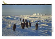 Emperor Penguin Group Walking On Ice Carry-all Pouch