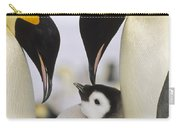 Emperor Penguin Parents With Chick Carry-all Pouch