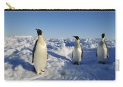Emperor Penguin Trio On Ice Field Carry-all Pouch