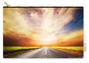 Empty Asphalt Road. Sunset Sky Carry-all Pouch
