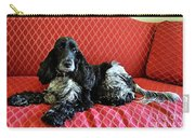 English Cocker Spaniel On Red Sofa Carry-all Pouch by Catherine Sherman