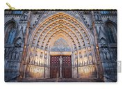 Entrance To The Barcelona Cathedral At Night Carry-all Pouch