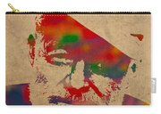 Ernest Hemingway Watercolor Portrait On Worn Distressed Canvas Carry-all Pouch
