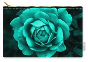 Evening Teal Rose Flower Carry-all Pouch