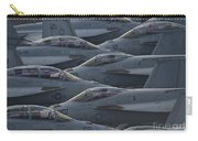 Fa18 Super Hornets Sit On The Flight Deck Of The Aircraft Carrier Uss Enterprise  Carry-all Pouch by Paul Fearn