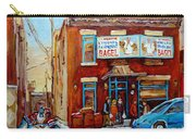 Fairmount Bagel In Winter Montreal City Scene Carry-all Pouch by Carole Spandau