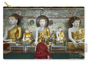 faithful Buddhist monk praying at Buddha Statues in SHWEDAGON PAGODA Carry-all Pouch