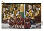 faithful Buddhist monks siiting around Buddha Statues in SHWEDAGON PAGODA Carry-all Pouch