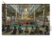 faithful Buddhists praying at sitting Buddha in golden Ponnya Shin Pagoda Carry-all Pouch