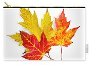 Fall Maple Leaves On White Carry-all Pouch