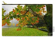 Fall Maple Tree In Foggy Park Carry-all Pouch by Elena Elisseeva