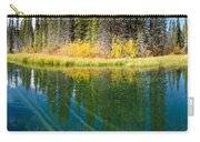 Fall Sky Mirrored On Calm Clear Taiga Wetland Pond Carry-all Pouch