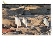Family Of Nz Yellow-eyed Penguin Or Hoiho On Shore Carry-all Pouch