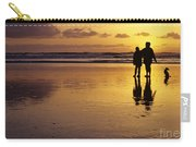 Family On Beach With Dog Sunset Carry-all Pouch