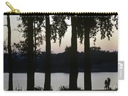 Family Silhouetted By Lake Carry-all Pouch
