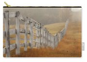 Farm Fence On Foggy Autumn Day Carry-all Pouch