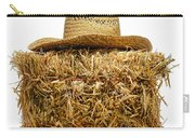 Farmer Hat On Hay Bale Carry-all Pouch