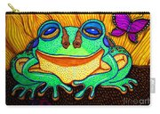 Fat Green Frog On A Sunflower Carry-all Pouch