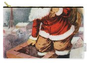 Father Christmas Popping Down The Chimney To Deliver Gifts To The Good.  Carry-all Pouch