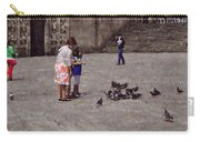 Feeding Pigeons In Santiago De Compostela Carry-all Pouch by Mary Machare