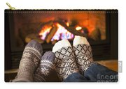 Feet Warming By Fireplace Carry-all Pouch