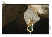 Female Belaying Between Rocks Carry-all Pouch