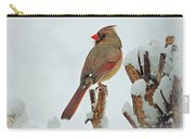 Female Cardinal In The Snow Carry-all Pouch by Sandy Keeton