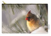 Female Cardinal Nestled In Snow Carry-all Pouch