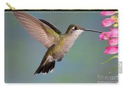 Female Magnificent Hummingbird At Flower Carry-all Pouch