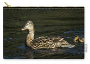 Female Mallard And Duckling Carry-all Pouch