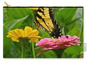 Female Tiger Swallowtail Butterfly With Pink And Yellow Zinnias Carry-all Pouch